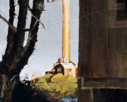 """Never Invisible"" 2019. Oil on canvas, 15x15cm. Between an old tree and an old house shines White Bay power station, the landmark once called The Gateway to Industrial Balmain. SOLD"