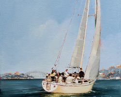"""Prodigal Son""  2019. Oil on canvas, 31x31cm. In summer, this Catalina 30 takes part in twilight yacht races around Sydney Harbour where up to 100 other boats can be competing. Commission."