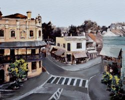 """Five Ways"" 2019. Oil on canvas, 25x36cm.  Looking down on Five Ways - the heart of Paddington in Sydney, showcasing a mix of Classical and Victorian style architecture. Commission"