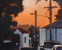 """""""Winter Sunset"""" 2019. Oil on canvas, 17x13cm. There have been some amazing sunsets in June and July, like the sky's on fire. This is looking west down Wise Street, on the Balmain peninsula."""
