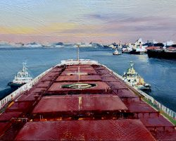 """""""Navigating the Port"""" 15x27cm 2019. oil on birch panel. A ship's pilot sees the most amazing views as he brings big ships in and out of the harbour. This is Newcastle in Australia. Commission"""