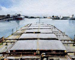 """The Pilot's Seat"" 2019, oil on birchwood panel, 16x28cm. Pilots, experts in local hazardous conditions, and are essential to navigate big ships through busy harbours and safely to berth. And there's the view!  (Finalist: 2019 ANL Mission to Seafarers Art Prize) SOLD"