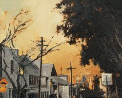 """""""Orange Sky with Centrepoint"""" 2019. Oil on canvas, 13 x17cm. Another magical sunset looking at the Centrepoint Tower from Rozelle. SOLD"""
