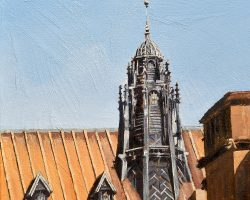 """University of Sydney Roof at 2pm"" 2019, oil on canvas. 33x33cm. Number three of a trio. Commission."