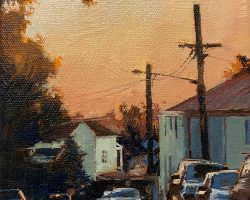 """Winter Light Looking North"" 2019. Oil on canvas, 15x15cm. Late on a sunny winter afternoon when the sunsets are magical. This is Wise Street in Rozelle. SOLD."