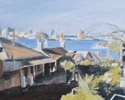 """East Balmain"" (study 1) 2019. Oil on paper. 16x24cm, framed (31.5x39cm). Looking at Luna Park from the Balmain Peninsula on a sunny day."