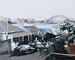"""East Balmain Rooftops"" (study I) 2019. Oil on paper, 19x26cm. Floating in white box frame (34x41.5cm) Looking down the hill, at Luna Park from the Balmain Peninsula. Available from Suzy King"