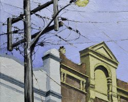 """Shining Light"" 2019. Oil on canvas. 33x33cm. Unusual in its complexity, this old power pole catches the light so the street lamp attached always looks illuminated. A handsome row of facades stand to attention behind the pole. SOLD"