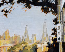 """Anzac in Spring"" 2019. Oil on canvas. 13x17cm. The view from Rozelle on a bright day. SOLD"