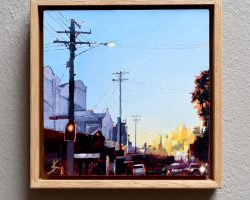 """Balmain Dusk"" 2019. Oil on birchwood panel. 17x17cm.  Framed in natural oak. SOLD"