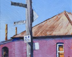 """""""Beyond Pink"""" 2019. Oil on canvas. 15x15cm. Interesting coloured cottages add to the charm and character to the Balmain peninsula. The rusty power station stacks give away the location  almost everywhere around here. So close to the city but it still feels like a village."""