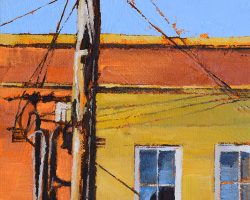"""""""Broken Window"""" 2019. Oil on canvas. 17x13cm. Spidery powerlines, shadows, that window and clashing colours come together in a crescendo of light."""