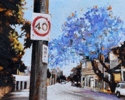 """Jacaranda on Beattie"" 2019. Oil on canvas. 13x17cm. An amazing tree in full bloom. It looked so fresh and happy on a sunny day. SOLD"