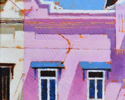 """""""Pink & Blue Watching You"""" 2019. Oil on canvas. 17x13cm. Some pastel colored buildings on Balmain's high street. ON HOLD"""