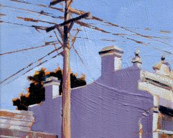 """James Squire"" 2020. Oil on canvas. 15x15cm. A midday sun on Montague Street gave this terrace an unusual cool hue. James Squire, featured in the Town Hall Hotel bottle shop, was Australia's first brewer. Fitting, as the Town Hall served locals for more than 130 years. SOLD"