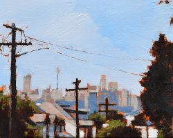 """Mansfield Street V"" 2020. Oil on canvas. 13x17cm. I keep painting this view because it's one of the best views of the city from the peninsula! SOLD"