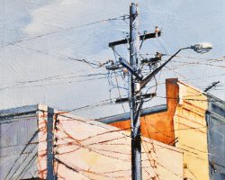 """Pastel Afternoon"" 2020. Oil on canvas, 33x33cm.  For a short time shadows from this power pole and it's wires made an interesting graphic on an otherwise naked wall on a street corner. They so quickly disappeared with the sun. SOLD"