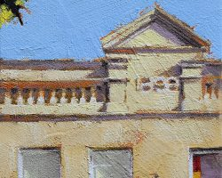 """""""1898"""" 2020. Oil on canvas. 17x13cm. It looks like someone upgraded the windows here, in about 1968! It's still a nice facade next to the Working Men's Institute on Darling Street."""