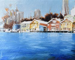 """""""Waterview Wharf Workshops I"""" 2020. Oil on canvas. 13x17cm. Used as a ship repair yard by the Adelaide Steamship Company since the beginning of the last century, the workshops are one of the finest remaining examples of maritime industrial architecture in Sydney. Painted in striking colours, they are a landmark on Sydney Harbour. SOLD"""