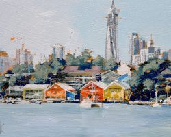 """Waterview Wharf Workshops II"" 2020. Oil on canvas. 13x17cm. Sitting quietly on the Mort Bay waterfront, the workshops are increasingly becoming dwarfed by the fast growing city and Barangaroo. SOLD"