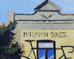 """Balmain Bikes"" 2020. Oil on canvas. 17x13cm. A very bold graphic on Darling Street. Gone and under renovation but the sign remains. SOLD"