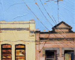 """""""Beattie Street Convenience Store"""" 2020. Oil on canvas. 17x13cm. Possibly the very last 'convenience store' on the peninsula. It's tidy neighbour highlights the little store's neglected face but we will miss it when it's renovated."""