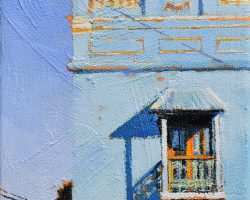 """Blue on Blue"" 2020. Oil on canvas. 17x13cm. Striking colours of this imposing corner terrace are fascinating in all kinds of light. SOLD"