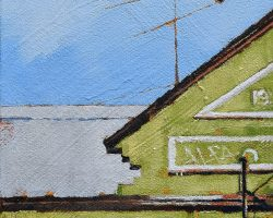 """""""Lara's on Rowntree"""" 2020. Oil on canvas. 17x13cm. An unusual facade in a little tucked away group of shops. It was the green colour and the geometric shapes I liked here. And I used to have an Alfa! SOLD"""