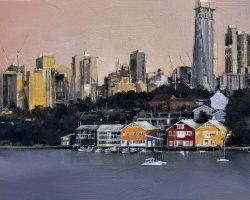 """Ballast Point to Barangaroo"" 2020. Oil on canvas, 31x53cm.  Early morning and late afternoon light come together to give this pocket of the Balmain peninsula a feeling of intimacy. Tucked under the skyline, the pretty workshop buildings look so small, but they were once a major maritime center for the Adelaide Steamship Company. A day after this work was finished, the outer glass shell was installed on the Barangaroo tower. Private Commission."