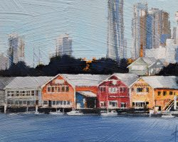 """Waterview Wharf Workshops III"" 2020. Oil on canvas. 13x17cm. Used as a ship repair yard by the Adelaide Steamship Company since the beginning of the last century, the workshops are one of the finest remaining examples of maritime industrial architecture in Sydney. Dwarfed by Sydney's expanding skyline but still they are a landmark on Sydney Harbour. SOLD"