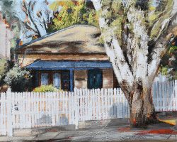 """Stone Cottage"" 2020. Oil on canvas. 13x17cm. A pretty sandstone cottage shaded by a beautiful big tree in Balmain. Commission."