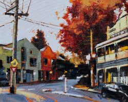 """Autumn in Balmain"" 2020. Oil on canvas. 15x15cm. The trees turn beautiful rich reds and yellows along Evans Street on the Balmain peninsula. SOLD"