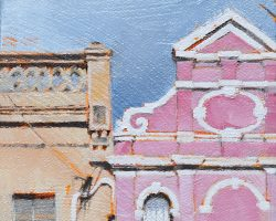 """""""Pink on High"""" 2020. Oil on canvas. 17x13cm. A striking facade dressed in pink on Darling Street. SOLD"""