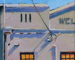 """Welcome"" 2020. Oil on canvas. 17x13cm. The Welcome Hotel facade on Evans Street makes a nice canvas for some interesting shadows on winter mornings. SOLD"
