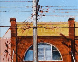 """Asiana"" 2020. Oil on canvas. 33x33cm. A modernised building, a power pole with some lovely shadows, a faded old unreadable sign, a chinese restaurant below. This has everything! Available from The Moree Gallery"