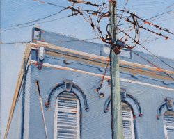 """Beyond Blue"" 2020. Oil on canvas. 33x33cm. A dusty blue facade against the blue sky looks calm and soft. But those curls of wires look like sparks are about to fly!  Available from Suzy King."