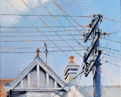"""Beyond Suburbia"" 2020. Oil on canvas. 33x33cm. There was nice blue sky on the other side of the criss-cross of wires here. A bold pole is like a soldier 'on guard'. Available from The Moree Gallery"
