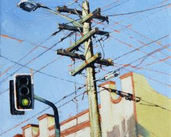 """Intersection"" 2020. Oil on canvas. 33x33cm. Looking up at a light looking down at the traffic lights. It's a very handsome power pole!  SOLD"