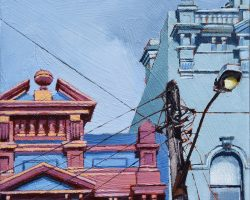 """Someone Went Crazy with the Colour Card"" 2020. Oil on canvas. 33x33cm. Actually the  colours are brighter than this! These beautiful decorative buildings line Balmain's Darling Street. Their striking looks make the pole look positively plain. SOLD"