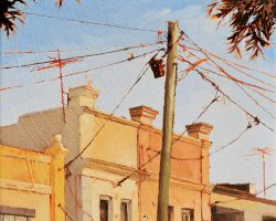 """Sunday Afternoon"" 2020. Oil on canvas. 33x33cm. This looks like a very hot, dry and dusty afternoon in a small town somewhere. The geometry of the wires and colours of the heat made it interesting.  Available from The Moree Gallery."
