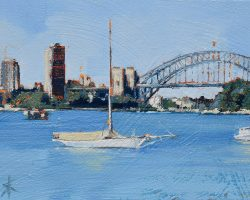 """A Boat & Blues Point"" 2020. Oil on canvas. 13x17cm. Looking at Blues Point Tower and a very beautiful wooden yacht from Birchgrove. SOLD"