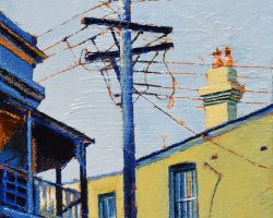 """Terraces & Wires"" 2020. Oil on canvas. 15x15cm. The beautiful shapes in the sunshine just say ""Balmain"".  SOLD"