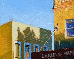 """Afternoon Shadows"" 2020. Oil on canvas. 15x15cm. A late afternoon on Darling Street. SOLD"