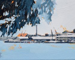 """Cockatoo View"" 2020. Oil on canvas. 13x17cm. Looking across the bay at Cockatoo Island. It has a complex history - first the Eora People used it for fishing, hunting, and women's ceremonial purposes, then it became a penal colony (still one of the best surviving examples of convict transportation and forced labour), and later it became a dockyard of the Royal Australian Navy.  SOLD"