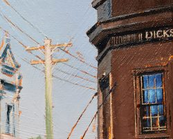 """Dicks Corner"" 2020. Oil on canvas. 15x15cm. Looking up on the peninsula you still see many a power pole and a pub (or ex-pub) on a street corner. There were once 185 licensed functioning pubs on this little peninsula!  SOLD"