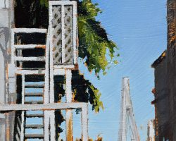 """""""Escape to Anzac"""" 2020. Oil on canvas. 15x15cm. Looking between some houses on Beattie Street you can still see a view despite the growing trees. SOLD"""