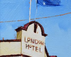 """London"" 2020. Oil on canvas. 17x13cm. The old London Hotel has a great face and just then, the flag looked perfect! They do an amazing steak too!  This partners well with ""On Jane"" but they are for sale separately. SOLD"