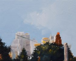 """Mansfield Skyline I"" 2020. Oil on canvas. 13x17cm. This is a rework of an older painting. It could be anywhere, but if you look at ""Mansfield Skyline II"" you will know where this is in Rozelle."