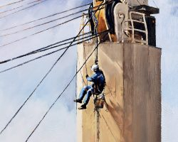 """""""Rarely seen & Dangerous"""" 2020. Oil on canvas. 91x71cm. When work was completed and the man was being lifted up by his crew members, the lifting rope suddenly parted. As he fell, his lifeline detached from the ship side railing and he disappeared into the water. (Highly commended: MTSV Maritime Award 2020). Available from Suzy King"""