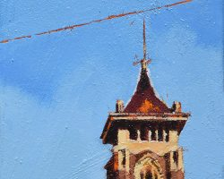 """""""On Jane"""" 2020. Oil on canvas. 17x13cm. I think of this church and the London as the 'gateway' to Jane Street. When you look closely, these are stunning buildings. This painting partners well with """"London"""" but they are for sale separately. SOLD"""